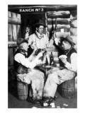 Men Dressed as Cowboys with Bottles of Whiskey, Pistols Giclée-Premiumdruck von  Lantern Press