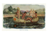 Native American Children in a Canoe Prints by  Lantern Press