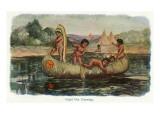 Native American Children in a Canoe Prints