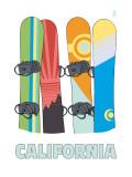 California - Snowboards in Snow Art by  Lantern Press