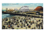 Ocean Park, California - View of Lick's Dome Pier Art by  Lantern Press