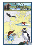 Kodiak Island, Alaska - Nautical Chart Posters