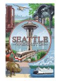 Seattle, WA Scenes Montage Posters