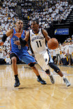 Oklahoma City Thunder v Memphis Grizzlies  - Game Four, Memphis, TN - MAY 9: Mike Conley and Russel Photographic Print by Layne Murdoch