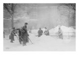 Shoveling Snow In City Hall Park, Manhattan, NYC Poster