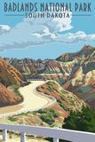 Badlands National Park, South Dakota - Road Scene Poster
