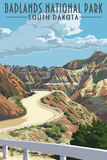 Badlands National Park, South Dakota - Road Scene ポスター