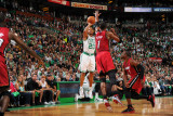 Miami Heat v Boston Celtics - Game Three, Boston, MA - MAY 7: Ray Allen, Chris Bosh and Dwyane Wade Photographic Print by Brian Babineau