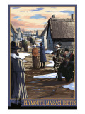 Plymouth, Massachusetts - Pilgrims going to Church Posters by  Lantern Press