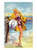 Pin-Up Girls - Linger Awhile; Beauty along the Shore Art by  Lantern Press