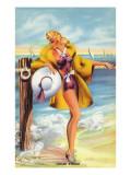 Pin-Up Girls - Linger Awhile; Beauty along the Shore Art by  Lantern Press