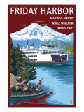 Friday Harbor, Washington - Ferry Scene with Boy Prints by  Lantern Press