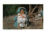 Pueblo Indian Baby Snug as a Bug in a Rug in his Papoose Affiche