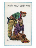 Comic Cartoon - Cowgirl Holds Cowboy by Neck; I Can't Help Lovin' You Prints