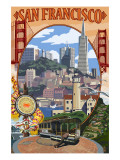 San Francisco, California Scenes Poster von  Lantern Press