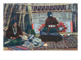 Navajo Ladies Weaving Rugs Posters by  Lantern Press