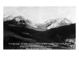 Montana - Timbered Basin View of Taylor's Fork and Peak Print by  Lantern Press
