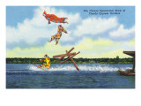Cypress Gardens, Florida - View of Clowns Waterskiing Prints by  Lantern Press