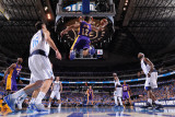 Los Angeles Lakers v Dallas Mavericks - Game Three, Dallas, TX - MAY 6: Shannon Brown and Peja Stoj Photographic Print by Andrew Bernstein