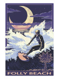 Folly Beach, SC - Sufer with Palmetto Moon Poster
