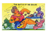 Comic Cartoon - The Battle of the Bulge; Woman Eating Snacks Prints