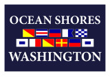 Ocean Shores, Washington - Nautical Flags Posters by  Lantern Press