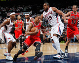 Chicago Bulls v Atlanta Hawks - Game Three, Atlanta, GA - MAY 6: Joe Johnson, Al Horford and Derric Photo by Kevin Cox