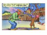 Comic Cartoon - Dirty Old Lady Wants Robber to Frisk Her Prints