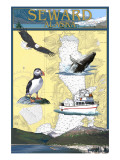 Seward, Alaska - Nautical Chart Print by  Lantern Press