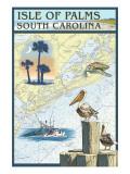 Isle of Palms, South Carolina - Nautical Chart Affiches par  Lantern Press