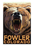 Fowler, Colorado - Bear Roaring Prints by  Lantern Press
