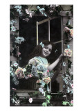 Paris, France - Little Girl at Window with Flowers Print
