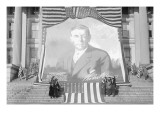 Huge Woodrow Wilson Painting on Fabric Draped In Front of Government Building Photo