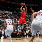 Chicago Bulls v Atlanta Hawks - Game Three, Atlanta, GA - MAY 6: Derrick Rose and Al Horford Photographic Print by Scott Cunningham