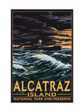 Alcatraz Island Night Scene - San Francisco, CA Posters
