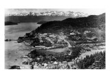 Cordova, Alaska - Aerial View of Town Print by  Lantern Press
