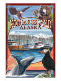 Kodiak Island, Alaska - Montage Views Art by  Lantern Press