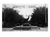 Payette, Idaho - View of Elk Statue from Depot Prints by  Lantern Press