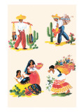 Four Scenes of Life In Mexico Prints