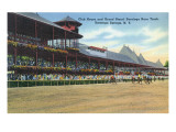 Saratoga Springs, New York - Racetrack View of Clubhouse, Band Stand Prints