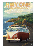 San Simeon, CA - VW Van Coastal Drive Prints by  Lantern Press