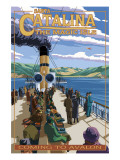 Catalina Island, California - Steamer Coming to Avalon Plakat af  Lantern Press