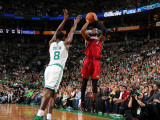 Miami Heat v Boston Celtics - Game Four, Boston, MA - MAY 9: Dwyane Wade and Jeff Green Photographic Print by Brian Babineau