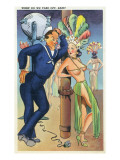 Pin-Up Girls - When Do We Take off Babe; Navy Officer Flirts with Cabaret Dancer Prints by  Lantern Press