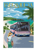 Bermuda - Pink Bus on Coastline Prints by  Lantern Press