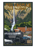 Multnomah Falls - Train and Cars Posters by  Lantern Press