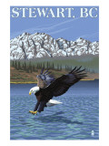 Stewart, BC - Eagle Fishing Poster by  Lantern Press