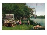 Michigan - St. Joe River Camping; near St. Joe and Benton Harbor Prints by  Lantern Press