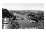 Marquette, Iowa - Mississippi River Suspension Bridge near Prairie du Chien Poster