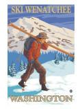 Skier Carrying - Wenatchee, WA Poster av  Lantern Press